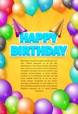Happy birthday vector invitation card or poster with party hats and color balloons Stock Images