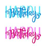 Happy Birthday vector lettering design. Posters, greeting cards and invitation. Hand-drawn brush calligraphy Royalty Free Stock Photo