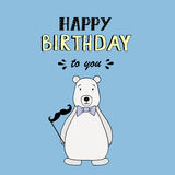 Happy Birthday vector lettering, party illustration with polar bear Royalty Free Stock Image