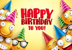 Happy birthday vector smileys greetings design with funny