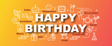 Happy birthday vector trendy banner Royalty Free Stock Image