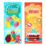 Happy Birthday Vertical Banners. Festive vertical kid banners with happy birthday congratulations gifts and celebratory cake isolated vector illustration Royalty Free Stock Image