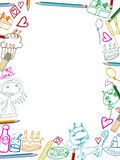 Happy Birthday vertical frame children drawings illustration on white. Background royalty free illustration
