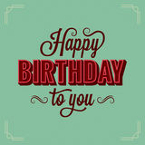 Happy Birthday Vintage Lettering Design Background Royalty Free Stock Photo