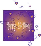 Happy Birthday violet greeting card royalty free illustration