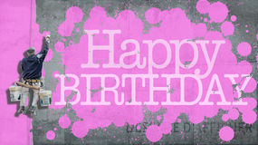 Happy Birthday wall pink Royalty Free Stock Images