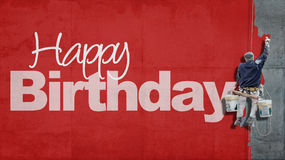 Happy Birthday wall red royalty free stock photo