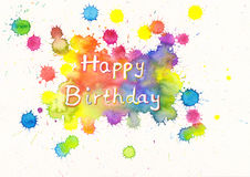 Happy Birthday watercolor card Stock Images