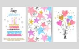 Happy Birthday watercolor colorful cards set. Happy Birthday cards set. Celebration vector colorful templates with birthday cake, balloons and stars Royalty Free Stock Images