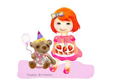 Happy Birthday. Watercolor painting Stock Photography