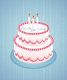 Happy Birthday White. Colorful birthday cake and candles on Royalty Free Stock Images