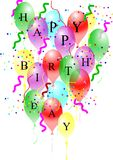 Happy birthday on white. Birthday greetings on transparent balloons on white Stock Images