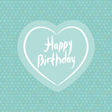 Happy birthday. White heart on blue Polka dot background. Vector Royalty Free Stock Image