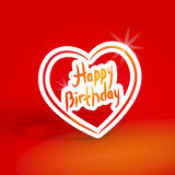 Happy birthday. White paper heart on red background. Vector Royalty Free Stock Photo