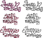 Happy birthday wish hand drawn liquid curly graffiti fonts Stock Images