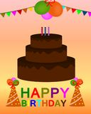 Happy birthday colorful greeting card vector stock illustration
