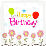 Happy Birthday wishes poster design with decoration. Stock Image
