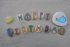Free Happy Birthday With Fun And Colored Stone Letters Over Beach Sand Stock Image - 173658181