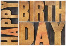 Happy birthday in wood type Stock Images