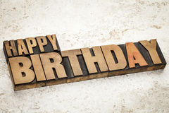 Happy birthday in wood type Stock Photography