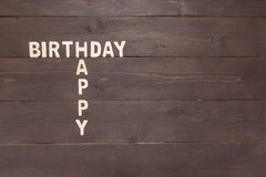 Happy Birthday on wooden background with copy space Royalty Free Stock Photo