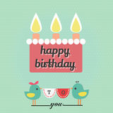 Happy birthday word. Cake with word happy birthday and birds with ribbon of word to you Royalty Free Stock Photos