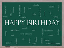 Happy Birthday Word Cloud Concept on a Blackboard Stock Photo