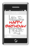 Happy Birthday Word Cloud Concept on Touchscreen Phone. Happy Birthday Word Cloud Concept of Touchscreen Phone with great terms such as ice crea, cake, party and Stock Photos