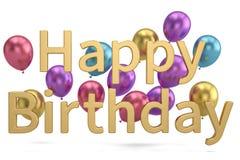 Happy Birthday words festive background 3D illustration.