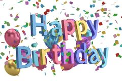 Happy Birthday words festive background 3D illustration. Happy Birthday words festive background 3D illustration vector illustration
