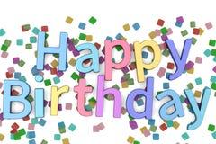 Happy Birthday words festive background 3D illustration. Happy Birthday words festive background 3D illustration royalty free illustration