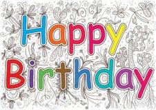 Happy Birthday Words Flowers_eps Stock Image