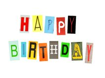 Happy birthday words made of newspaper letters