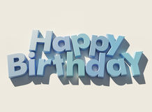 Happy Birthday. Written in blue 3D letters on a white background Royalty Free Stock Image