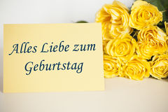 Happy birthday. Written on a card & x28;in german& x29 Stock Photography