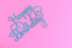 Happy birthday written on a purple banner, background, birthday card greetings Stock Photo