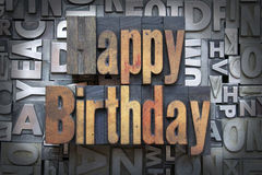 Happy Birthday. Written in vintage letterpress type Royalty Free Stock Photo