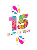 Happy birthday 15 year paper cut greeting card. Happy Birthday fifteen 15 year, fun paper cut number and text label design with colorful abstract hand drawn art vector illustration