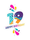 Happy birthday 19 year paper cut greeting card. Happy Birthday nineteen 19 year, fun paper cut number and text label design with colorful abstract hand drawn art royalty free illustration