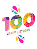 Happy birthday 100 year paper cut greeting card. Happy Birthday one hundred 100 year, fun paper cut number and text label design with colorful abstract hand Royalty Free Stock Photography