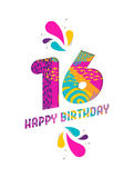 Happy birthday 16 year paper cut greeting card Stock Image