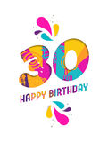 Happy birthday 30 year paper cut greeting card Royalty Free Stock Photos