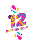 Happy birthday 12 year paper cut greeting card Royalty Free Stock Photography
