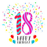 Happy Birthday for 18 year party invitation card. Happy birthday number 18, greeting card for eighteen year in fun art style with party confetti. Anniversary Royalty Free Stock Photos