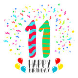 Happy Birthday for 11 year party invitation card. Happy birthday number 11, greeting card for eleven year in fun art style with party confetti. Anniversary Stock Photos