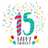 Happy Birthday for 15 year party invitation card. Happy birthday number 15, greeting card for fifteen year in fun art style with party confetti. Anniversary Stock Image
