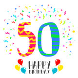 Happy Birthday for 50 year party invitation card. Happy birthday number 50, greeting card for fifty year in fun art style with party confetti. Anniversary Royalty Free Stock Photography