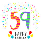 Happy Birthday for 59 year party invitation card. Happy birthday number 59, greeting card for fifty nine year in fun art style with party confetti. Anniversary Royalty Free Stock Photography