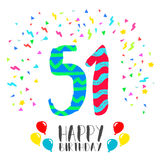 Happy Birthday for 51 year party invitation card Royalty Free Stock Images