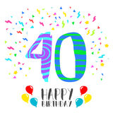 Happy Birthday for 40 year party invitation card Stock Images